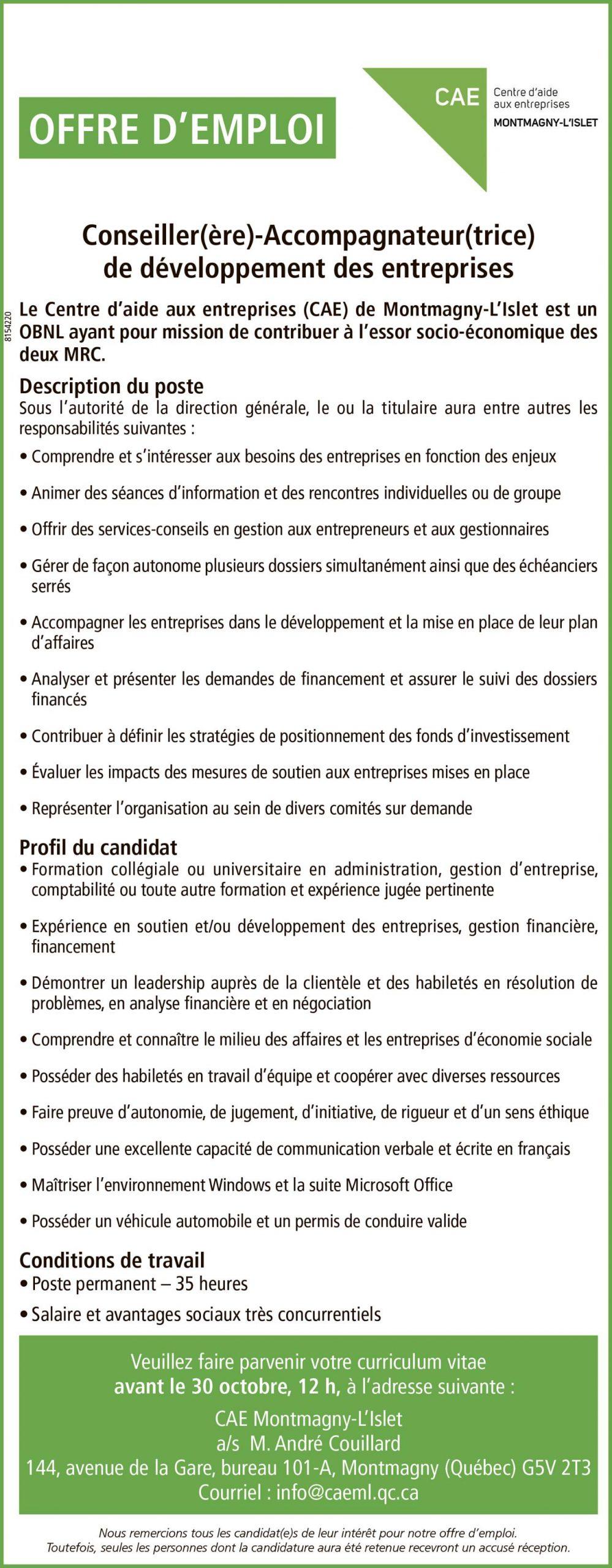 OFFRE D'EMPLOI – CONSEILLIER(ÈRE)-ACCOMPAGNATEUR(TRICE)